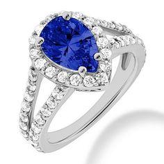 Pear Shaped Tanzanite Diamond Halo Engagement Split Ring