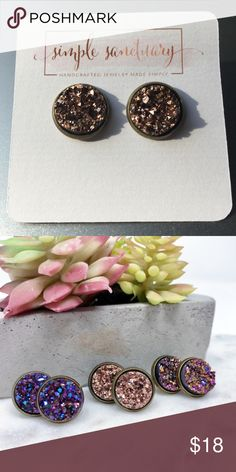 Metallic Bronze Champagne Druzy Studs Faux druzy stones in 12mm bronze settings.  Comes with plastic earring backs and packaged on earring cards.    Handmade in El Paso, TX Simple Sanctuary Jewelry Earrings
