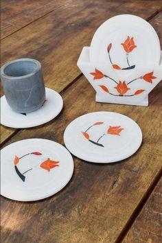Coaster With Holder #orange #marble #inlay #kitchen #handicraft #handmade #wowtrendy