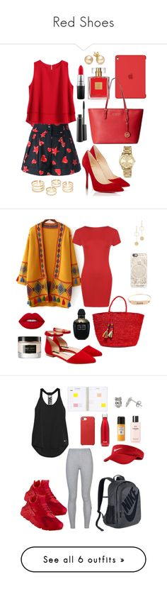 """Red Shoes"" by breeyvonne ❤ liked on Polyvore featuring Apple, Avon, Michael Kors, Moschino, Christian Louboutin, MAC Cosmetics, MICHAEL Michael Kors, WithChic, WearAll and Lafayette 148 New York"