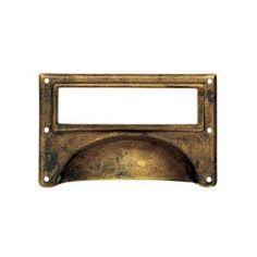 Porte étiquette poignée de porte ou tiroir de meuble en laiton rouille, Coquille Porte étiquette