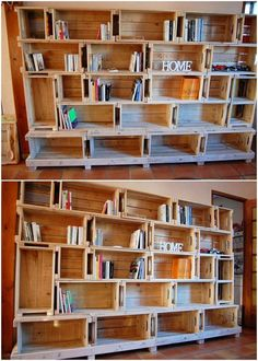 In this image, we have presented you with the idea of the wood pallet in which the custom designing of the pallet book shelf design work has been shared upon. You will be finding this whole project so much attention-grabbing and attractive looking in the home furnishings.