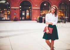 Oxford Pleated Skirt with pockets in Green by DesignsByAshleeB