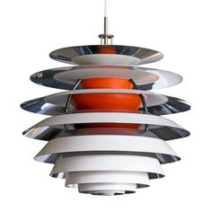 """Stunning Poul Henningsen """"Kontrast"""" lamp in excellent original condition, pendant is composed of ten concentric, stacked rings in orange, off-white and polished aluminum that produce a wonderful, glare-free light. Modern Chandelier, Modern Lighting, Chandeliers, Lighting Design, Task Lighting, Art Furniture, Modern Furniture, Furniture Design, Lamp Light"""