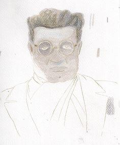 Antonio Gramsci. pastelli colorati.