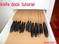 DIY cork knife dock, inspired by The Container Store Diy Drawer Organizer, Drawer Organisers, Diy Knife Storage, Knock Off Decor, Knife Holder, Container Store, Container Cabin, Cargo Container, Container Design