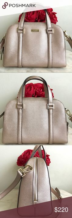 ✨♥️ kate spade rose gold satchel ♥️✨ In excellent condition. Comes with a removable strap. Some few stains inside but may be able to clean it. kate spade Bags Satchels
