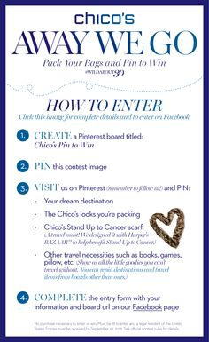 Pin your dream adventure and packing list for a chance to win a $1,000 Chico's Gift Card. #WildAbout30 #chicos