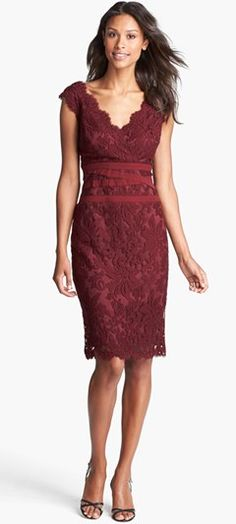 Cranberry lace - Christmas Bridesmaid dress