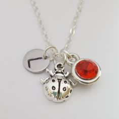 Necklace ,jewellery,chain,ladybug jewellery,ladybug pendant ,lady bug necklace birthstone,ladybug necklace for her,initial necklace,gift Handmade Stamps, Handmade Gifts, Initial Necklace, Pendant Necklace, Ladybug Jewelry, Birthstone Necklace, Lady Bug, Sterling Silver Necklaces, Birthstones