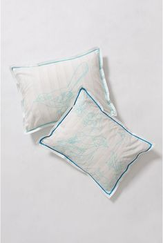 """Forest For The Trees Shams.    Silhouetted trees and foliage are filled in by broad streaks of blue, green and white on this crisp percale set adapted from artist Trey Speegle's imaginative paint-by-number series.  350 thread count.  Cotton.  Set of two.  Envelope closure.  Standard: 20"""" x 26""""  King: 20"""" x 36""""  Machine wash.   #993437  $24.95 was 88.00.   color:MULTI.  size:STANDARD S/2. Anthropologie Bedding, Tree Silhouette, Paint By Number, Fall Outfits, Crisp, Blue Green, Bed Pillows, Count, Envelope"""