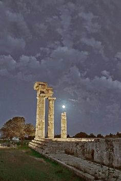 The Temple of Apollon at night, Rhodes island,Greece