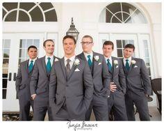 River House Wedding; Tonya Beaver Photography; St Augustine Wedding; dark gray suit; dark gray suit with teal ties:
