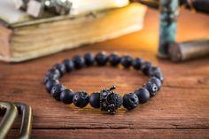 8mm The Black King II Matte black onyx & lava stone by GAALco