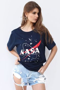 T-shirt Nasa Navy Crop Top Outfits, Casual Outfits, Nasa Hoodie, Tshirt Dress Outfit, Space Outfit, One Step, Girl Fashion, Womens Fashion, Unisex Fashion
