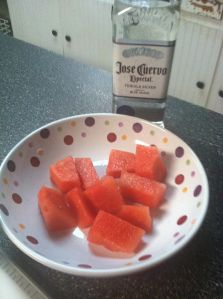 Deliciousness in a bowl….Watermelon and Tequila. Slice, soak 30 min, and… I should try this someday, but not when the kids are here.