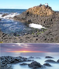 Giant's Causeway, Northern Ireland--columnar basalt. Google the reason for the name...go ahead!