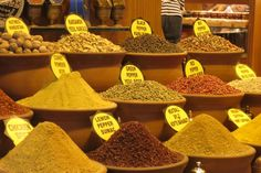 Spices at the spice market in Istanbul.