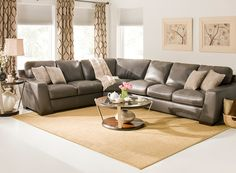 Carpenter Leather Sectional Sofa W/ Queen Sleeper