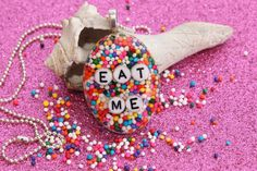 Sprinkle Oval Necklace Valentine Day EAT ME by tranquilityy