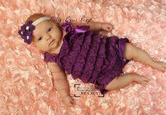 SET-Purple Lace Petti Romper & Headband-Baby Girl by LillyBowPeep