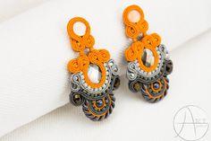 Orange and grey soutache earings. by ArtefactHandmadeEire on Etsy