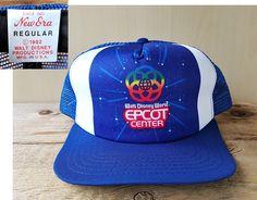 8530b0042c931 Vintage EPCOT CENTER Walt Disney World 1982 Original New Era Snapback Hat  Blue Mesh Trucker Baseball Cap Retro Souvenir Ballcap Made in USA