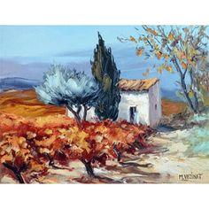 Galerie Art Sud - Vignes en automne Head And Heart, Cottage Art, Heart Art, Galerie Art, Art Oil, Art Boards, Draw, Watercolor, Landscape