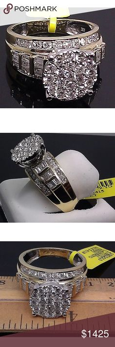 2 carat 10k yellow gold diamond cluster ring 2 carat 10k yellow gold diamond cluster ring! Also available in white gold! Jewelry Rings