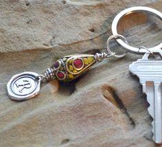 Personalized Keychain Monogram Initial Keychain Wax by LKArtChic