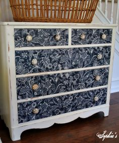 Dresser Makeover with Fabric - Sophias
