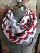 chevron infinity scarf in red and gray | Crimson Red and Gray Grey Chevron Infinity Scarves School TEAM ...