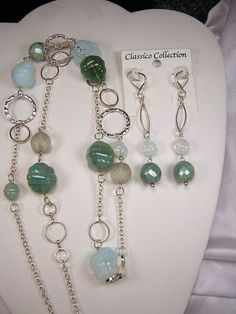 Czech Glass Necklace 3pc Set Bohemian NEW Vintage Chunky Silver Chain Green Bead #ClassicoCollectionNYC #UniqueChunkyBohemian
