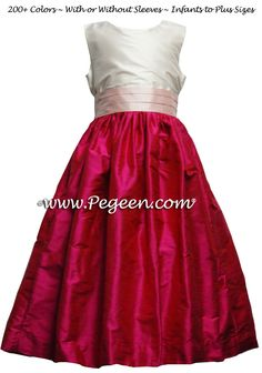 35d7a14716c Flower Girl Dresses in Raspberry And Shell Pink - Style 398