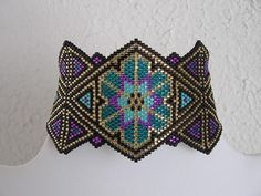 Native American Inspired Bead Woven Bracelet - Stained Glass by Patti