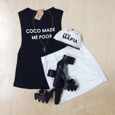 On that black and white tip! New Arrivals! Coco Made Me Muscle Tank, Carter Mesh Skirt, Kyra Quartz Crystal/Bronze Necklace. Junya Mafia hat available next door @safehouse
