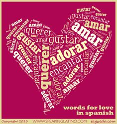 Spanish words for #LOVE #Spanish A blog post by www.SpeakingLatino.com