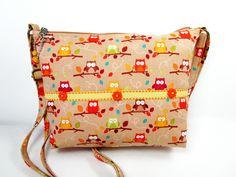 Owls Small Cross Body Fabric Purse / Handmade Handbag / Zippered by darlingsdesigns on Etsy