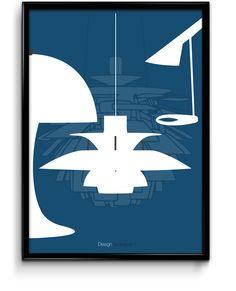 Poster inspired by great Danish lamp designers - Verner Panton, Poul Henningsen & Arne Jacobsen