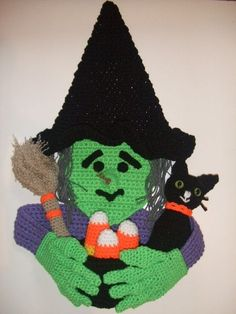 Have Wilda the Witch greet your little trick or treaters this Halloween!!! She is made from 2 strands of worsted weight yarn and works up