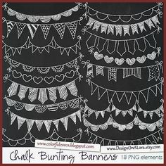 Chalk Bunting Banners Chalk Banners Clip Art Digital Banners Hand Drawn Banners Chalk ribbons B Super-Fonts Banner Clip Art, Bunting Banner, Banner Backdrop, Chalkboard Doodles, Chalkboard Lettering, Chalkboard Designs, Chalkboard Banner, Chalk Lettering, Chalkboard Art