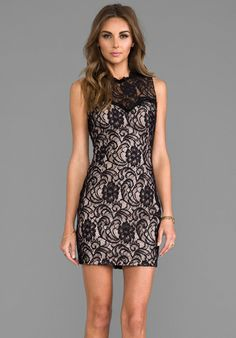 DOLCE VITA Abrianna Stretch Floral Lace Dress in Noir - Lace