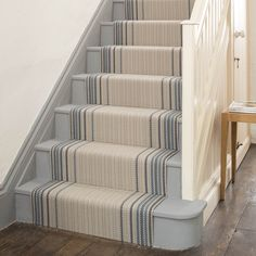 Designers and Makers of unique stripe runners, rugs and fabrics in natural fibres. Simply Luxury for Modern Living Striped Carpet Stairs, Striped Carpets, Stair Carpet, Foyers, Tiled Hallway, Hallway Carpet, Staircase Makeover, Stairs Revamp, Staircase Design