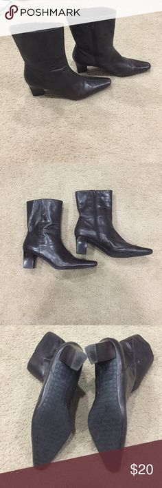 """Chocolate Brown leather Nine West booties! Chocolate brown leather Nine West booties. These have been preloved with some wear. Price reflects wear. Mostly noticeable on the inside. No rips or holes on the outside or upper part of the boot. Super soft comfy leather! Heels are lovely wood grain 2"""". Zippered sides. 7"""" total upper length. Nine West Shoes Ankle Boots & Booties"""