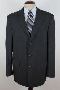 Jos A Bank Blazer Sport Coat Mens size 44XL 100% Wool Gray 3 Button Single Vent #JosABank #ThreeButton