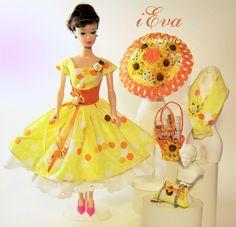 Honey Vintage Silkstone Repro Barbie Doll Dress Outfit Hat Clothes OOAK handmade #handmadevintagerepro