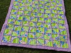 Drunkards Path Rag Quilt 1228 Purple Green 46 x 62 Fabric