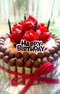 Birthday cake for my husband ... a red velvet cream cheese frosting kitkat decor