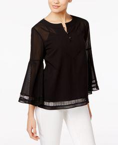 Trina Turk Cotton Bell-Sleeve Peasant Top