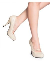 Cutiepie Mary Jane Heels in Matte Beige